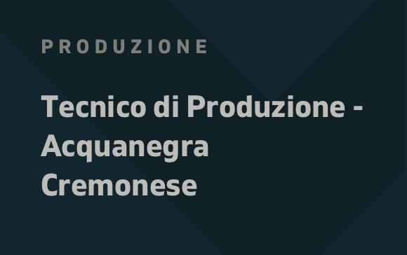 Tecnico di produzione Acquanegra Cremonese