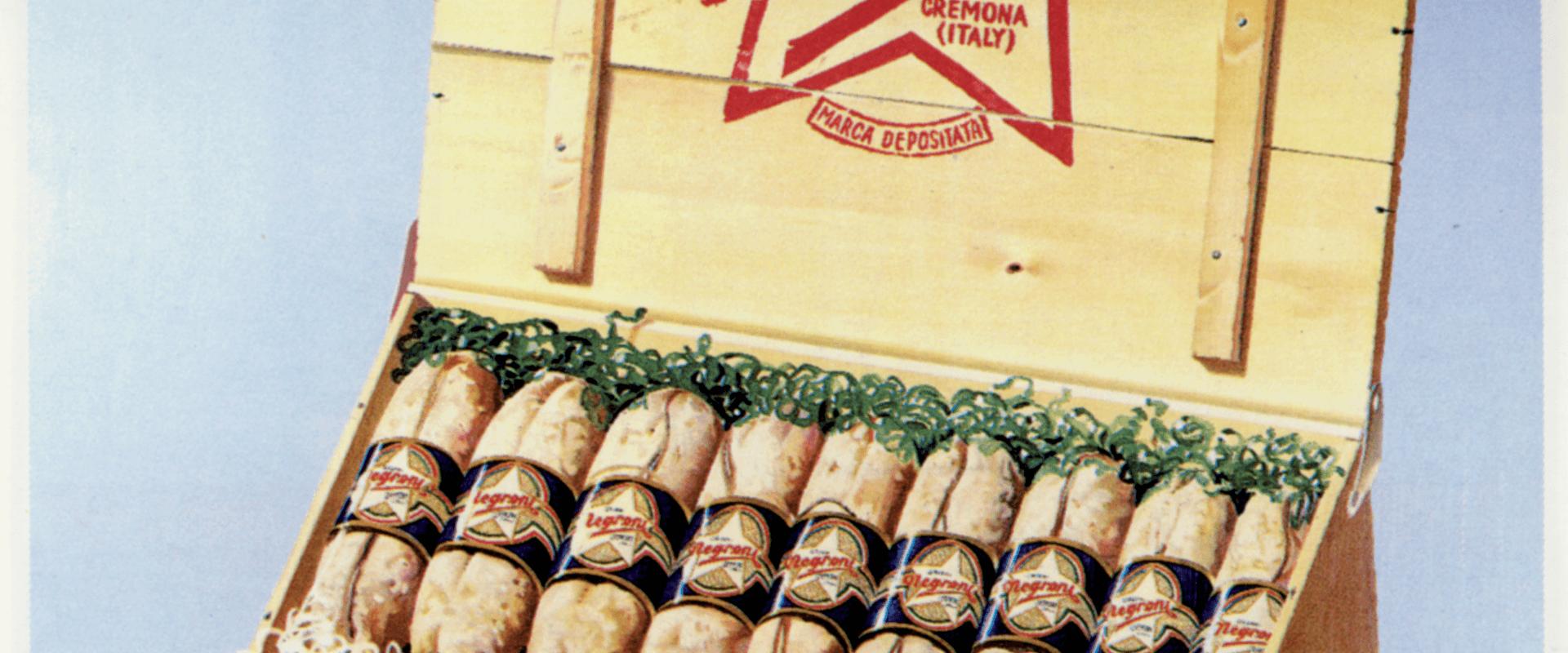 Poster pubblicitario del 1931 raffigurante il salame Negroni Salumi